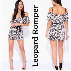 Brand New Leopard Print Romper Cold Shoulder